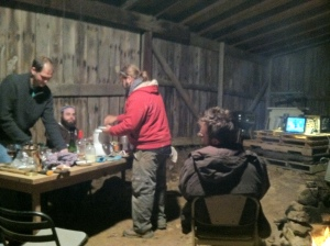 """D&D, Apple brandy, and a showing of """"River of Dread"""" around the campfire to celebrate our hard work : )"""