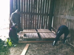 Chris, Kelley and Parakh lay down our first stage frame 3/16/14.