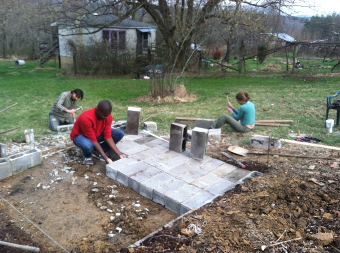 Laying our cinderblock foundation.