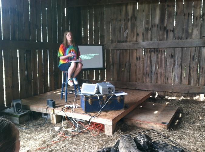 "Starflower O'Sullivan facilitates our first ""Shed Talk"" at Crow Forest Farm!"