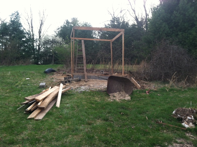 Our finished frame for our chicken coop/green house!