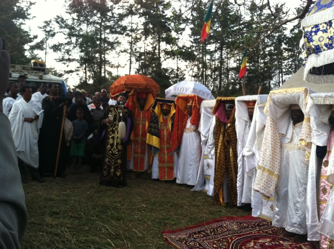 Ethiopian epiphany celebration!  So very Beautiful!  People marched sang, and drummed in the streets, as they rolled out a red carpet before priests in brilliant robes carried icons under gold-embroidered umbrellas.  Ethiopia is at once an ancient and cosmopolitan mix of religions, languages, and cultures.  It's the most fascinating place I've ever visited.  I'd recommend it to anybody to come and visit.