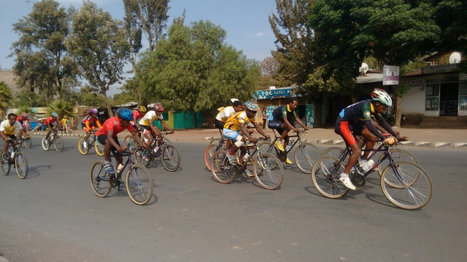 Butajira hosts many sporting events for the region, such as this bicycle race.